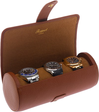 Rapport Berkeley Watch Roll Triple in Brown Leather D181