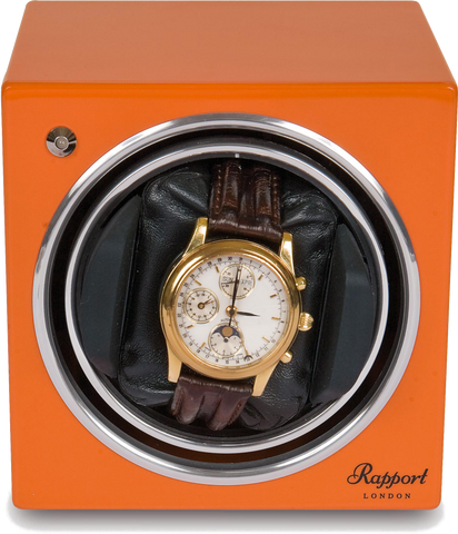 Rapport Evolution Watch Winder Single in Orange EVO10