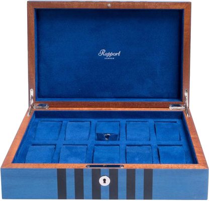 Rapport Labyrinth Wood Watch Box in Blue L440