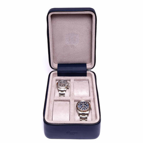 Rapport Hyde Park Watch Case Quad in Navy Leather D273