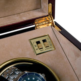 Rapport Captain's Optima Watch Winder in Mahogany/Brass W272