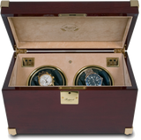 Rapport Captain's Optima Watch Winder Duo in Mahogany/Brass W272