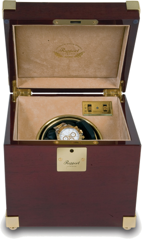 Rapport Captain's Optima Watch Winder Single in Mahogany/Brass W271