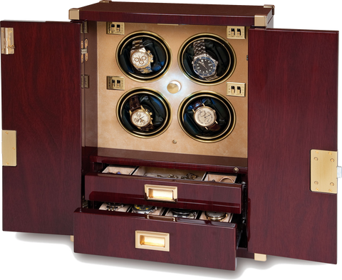 Rapport Mariner's Chest Watch Winder in Mahogany/Brass W284