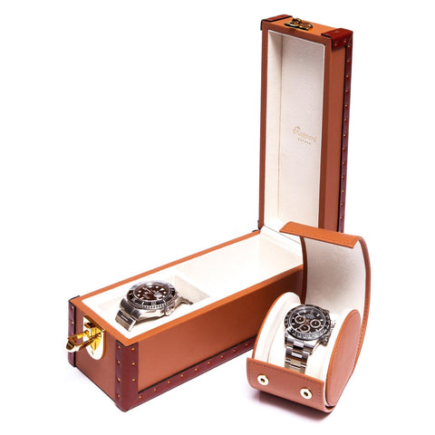 Rapport Kensington Watch Box Double in Tan Leather L325