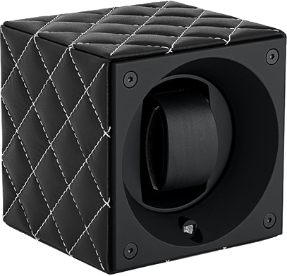 Swiss Kubik SK01.CVNOIRC Single Watch Winder in Black Leather Couture