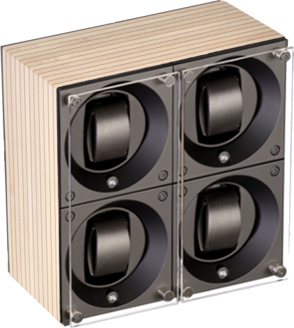 Swiss Kubik SK04.BYV001 - WP 4-Unit Watch Winder In Light Yacht Wood