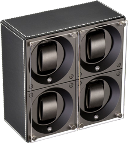 Swiss Kubik SK04.CV001 - WP 4-Unit Watch Winder In Black Leather w White Stitch