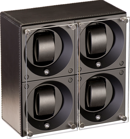 Swiss Kubik SK04.CV003 - WP 4-Unit Watch Winder In Black Leather