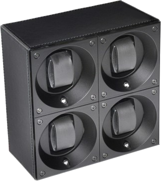 Swiss Kubik SK04.CV003 4-Unit Watch Winder In Black Leather