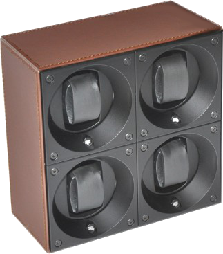 Swiss Kubik SK04.CV004 4-Unit Watch Winder In Brown Leather