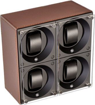 Swiss Kubik SK04.CV004 - WP Leather 4 Unit Watch Winder In Brown