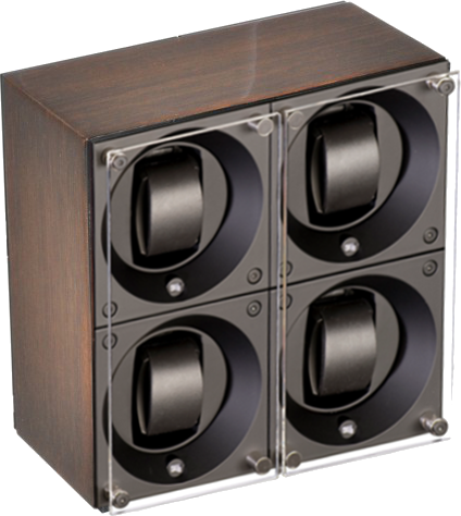 Swiss Kubik SK04.GW001 - WP 4-Unit Watch Winder In Gold Wenge Wood