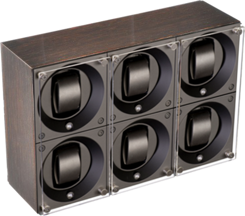 Swiss Kubik SK06.GW001 - WP 6-Unit Watch Winder In Gold Wenge Wood