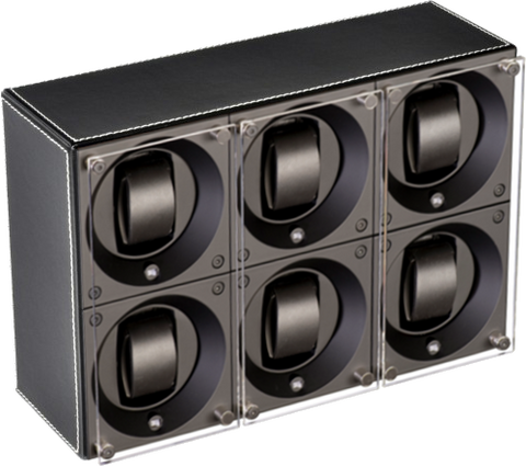 Swiss Kubik SK06.CV001- WP 6-Unit Watch Winder In Black Leather w White Stitch