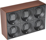 Swiss Kubik SK06.CV004 6-Unit Watch Winder In Brown Leather