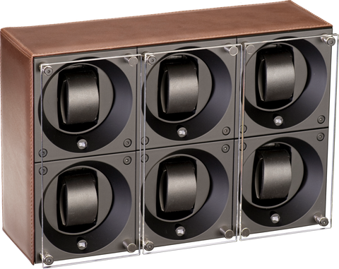 Swiss Kubik SK06.CV004 - WP 6-Unit Watch Winder In Brown Leather