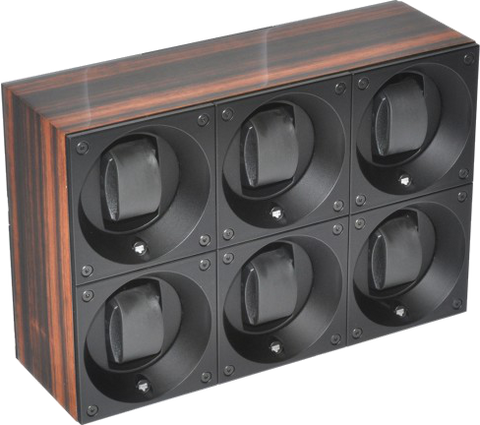 Swiss Kubik SK06.BEM001 6-Unit Watch Winder In Macassar Wood