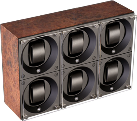 Swiss Kubik SK06.BEL001 - WP 6-Unit Watch Winder In Burl Wood