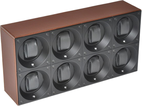 Swiss Kubik SK08.CV004 Leather 8 Unit Watch Winder In Brown