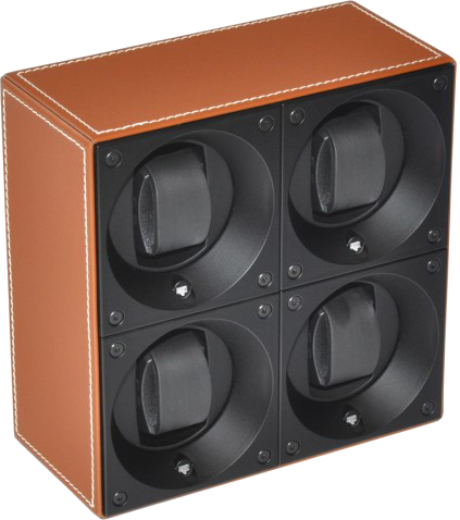Swiss Kubik SK04.CV002 4-Unit Watch Winder In Natural Leather