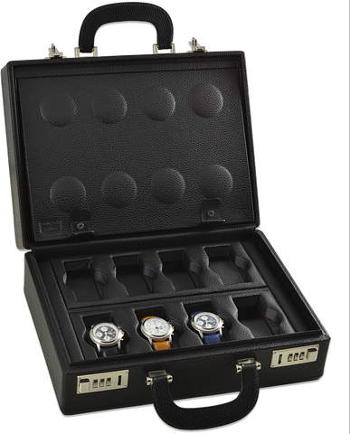 Scatola del Tempo 16BOSXXL 16-Unit Watch Case in Black Leather Grain