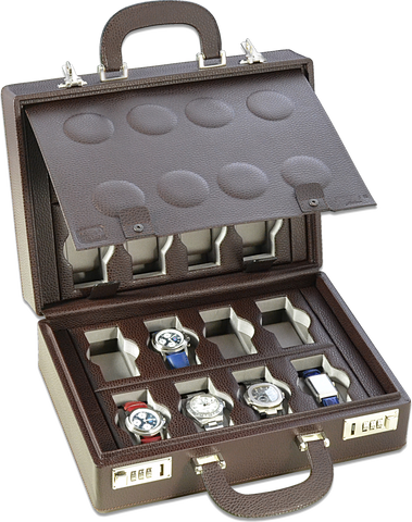 Scatola del Tempo 16BOSXXL 16-Unit Watch Case in Brown Leather Grain