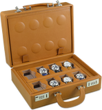Scatola del Tempo 16BOSXXL 16-Unit Watch Case in Tan Leather Grain