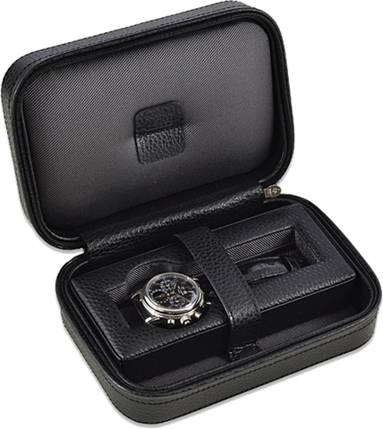 Scatola del Tempo 1POS Single Watch Case in Black Leather Grain