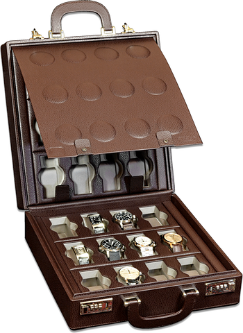 Scatola del Tempo 24BOSXXL 24-Unit Watch Case in Brown Leather Grain