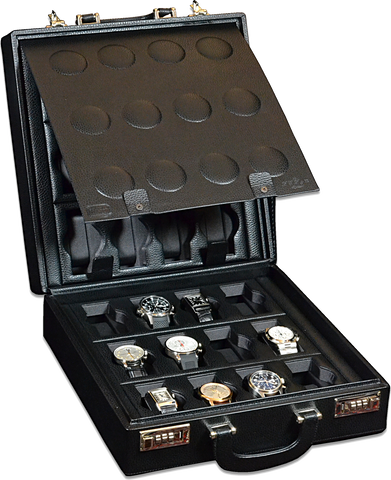 Scatola del Tempo 24BOSXXL 24-Unit Watch Case in Black Leather Grain