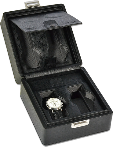 Scatola del Tempo 2+2OSXXL 4-Unit Watch Case in Black Leather Grain