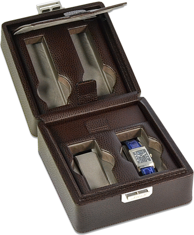 Scatola del Tempo 2+2OSXXL 4-Unit Watch Case in Brown Leather Grain