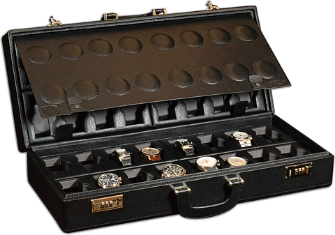 Scatola del Tempo 32BOSXXL 32-Unit Watch Case in Black Leather Grain