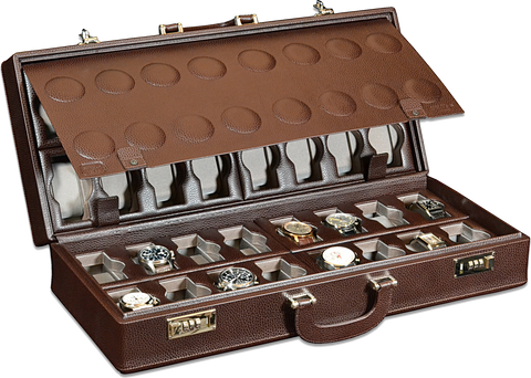 Scatola del Tempo 32BOSXXL 32-Unit Watch Case in Brown Leather Grain