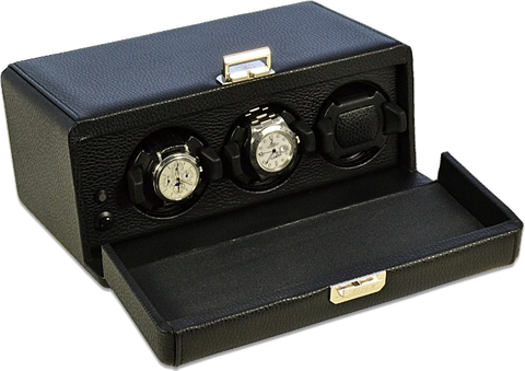 Scatola del Tempo 3RT OS 3-Unit Watch Winder in Black Leather Grain