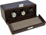 Scatola del Tempo 3RT OS 3-Unit Watch Winder in Brown Leather Grain