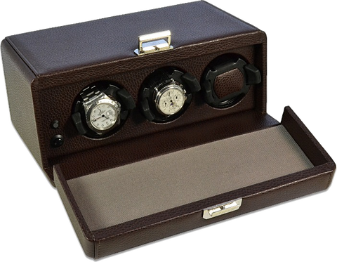 Scatola del Tempo - 3RT OS 3-Unit Watch Winder in Brown Leather Grain