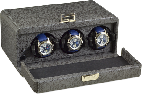 Scatola del Tempo 3RT OS 3-Unit Watch Winder in Grey Leather Grain