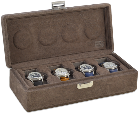 Scatola del Tempo 4B OS XXL 4-Unit Watch Case in Nabuk Grey Leather
