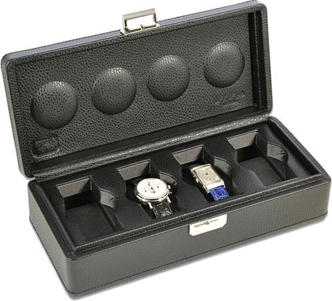 Scatola del Tempo 4B OS XXL 4-Unit Watch Case in Black Leather
