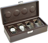 Scatola del Tempo 4B OS XXL 4-Unit Watch Case in Brown Leather