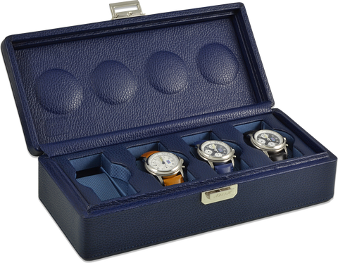 Scatola del Tempo 4B OS XXL 4-Unit Watch Case in Navy Blue Leather