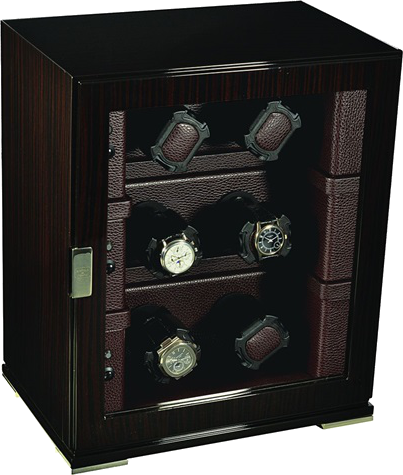 Scatola del Tempo 6RTEBXXL 1V Compact 6-Unit Watch Winder In Zebrano Wood