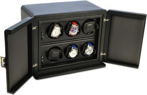 Scatola del Tempo 6RTOS 6-Unit Watch Winder in Black Leather Grain