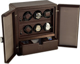 Scatola del Tempo 6RTSPOS 6-Unit Watch Winder in Brown Leather Grain