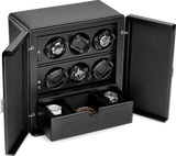 Scatola del Tempo 6RTSPOS 6-Unit Watch Winder in Black Leather Grain