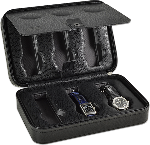 Scatola del Tempo 6AOS 6-Unit Watch Case in Black Leather Grain