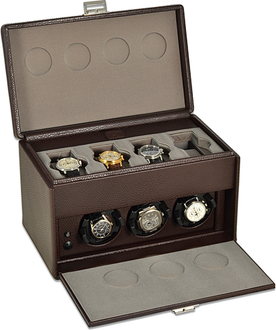 Scatola del Tempo 7RTOS Watch Winder w Storage in Brown Leather Grain