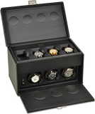 Scatola del Tempo 7RTOS Watch Winder w Storage in Black Leather Grain